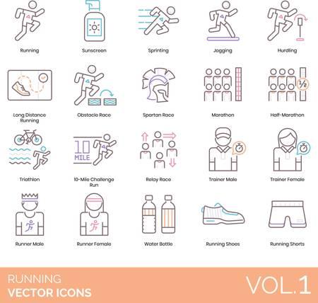 Vector icons of running types, training, running gear