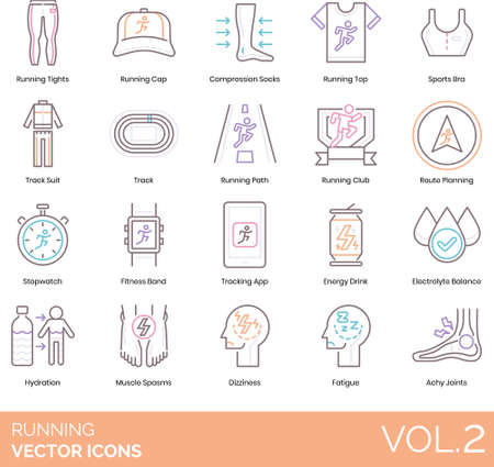 Vector icons of running gear, accessories, running fatigue