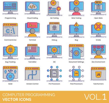 Vector icons of computer programming, cloud coding, program, system development, build