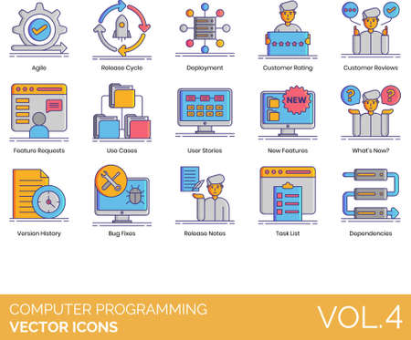 Vector icons of computer programming, coding, deployment, system