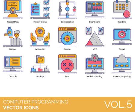 Vector icons of computer programming, coding, cloud computing,