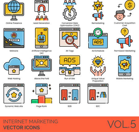 Internet marketing icons including online presence, lead generation, CRO, remarketing, customer acquisition cost, malware, artificial intelligence, alt tag, ad schedule, permission, web hosting, above the fold, run of site, unique value proposition, mobile, dynamic, page rank, B2B, B2C. Ilustração