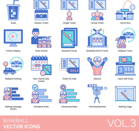 Baseball icons including soda, season, single, group, home run, instant replay, team owner, card, hall of fame, ballpark tour, parking, non-game day events, ticket for sale, mascot, gift shop, average, standard, advanced stats, pitching machine, batting cage. Ilustração