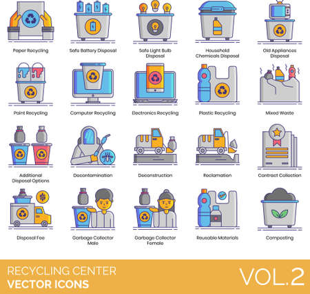 Vector icons of recycling center, waste reduction, waste management, eco-friendly