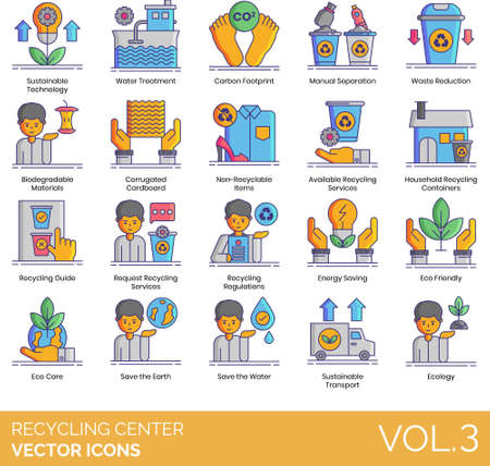 Vector icons of sustainable technology, eco-friendly recycling center, waste reduction