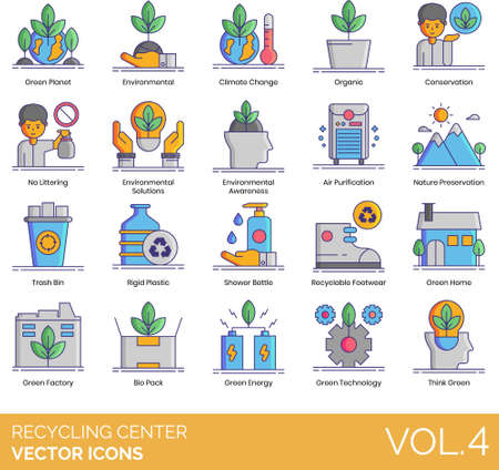 Vector icons of recycling center, environmental awareness, think green 일러스트