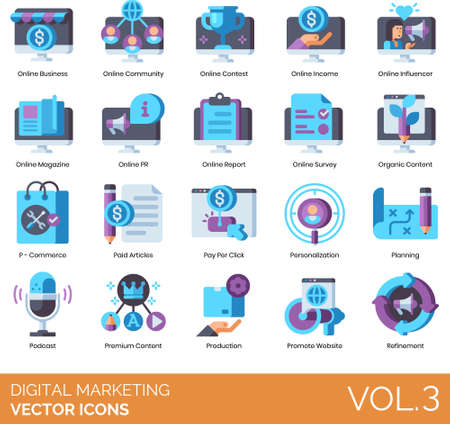 Vector icons of digital marketing, planning, online business, content