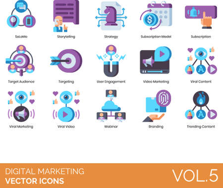 Digital marketing icons including SoLoMo, storytelling, strategy, subscription model, target audience, user engagement, video, viral content, webinar, branding, trending.