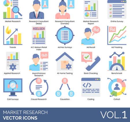 Vector icons of market research, analytics, surveys Çizim