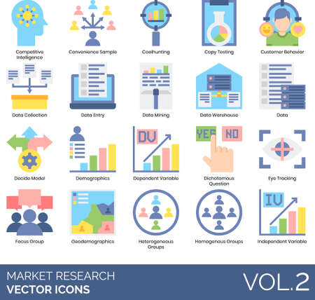 Market research icons including competitive intelligence, convenience sample, coolhunting, copy testing, customer behavior, data collection, entry, mining, warehouse, decide model, demographics, dependent variable, dichotomous question, eye tracking, focus group, geodemographics, heterogeneous, homogeneous, independent. Illustration