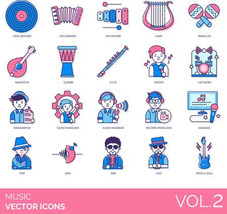 icônes de genre musical, instruments, graphique, diffusion Vecteurs