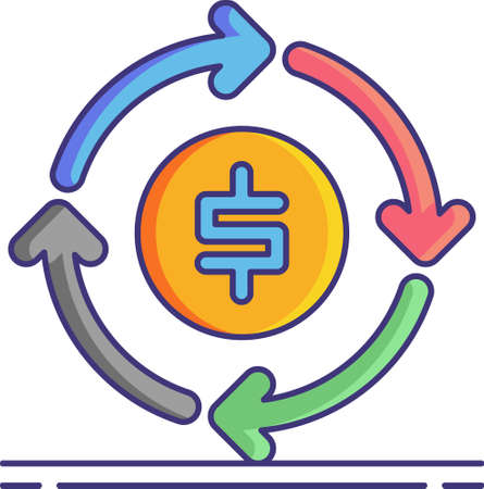 Vector flat icon illustration of circular economy. Economic system aimed at eliminating waste and the continual use of resources. A coin surrounded by circle arrows.