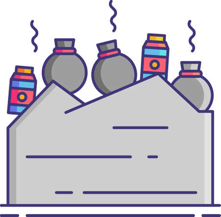 Flat vector icon illustration of landfill. A site for the disposal of waste materials.