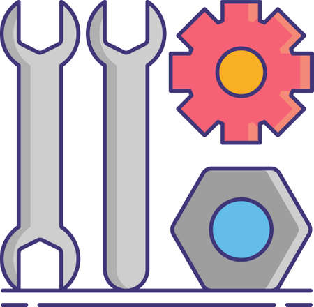 Flat vector icon illustration of wrenches, cogwheel, nut. Scrap metal recycling.