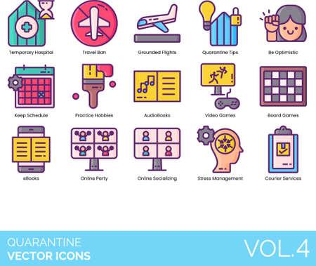 Icons of activities during virus outbreak quarantine Vetores