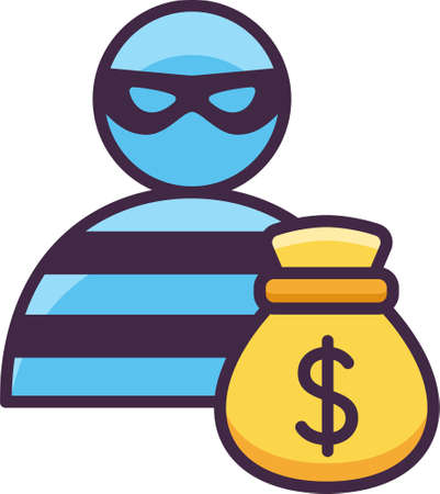 Vector flat icon of bank robbery. Illustration of a masked thief with money bag. Çizim