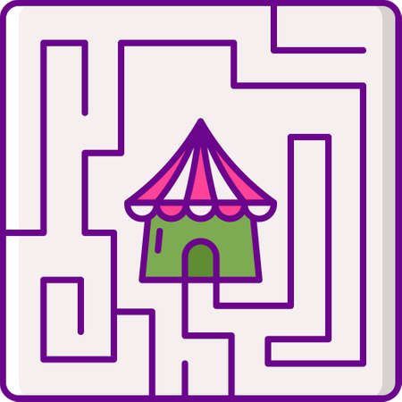 Flat vector icon illustration of a circus tent at the center of square maze