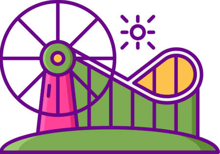Flat vector icon illustration of rollercoaster and ferris wheel at amusement park Illustration