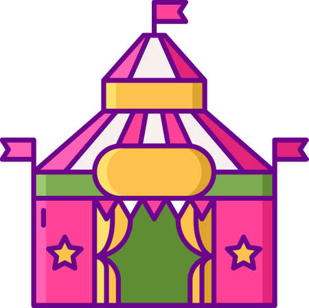 Flat vector icon illustration of big top circus tent