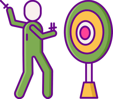 Flat vector icon illustration of a knife thrower aiming on target Illustration