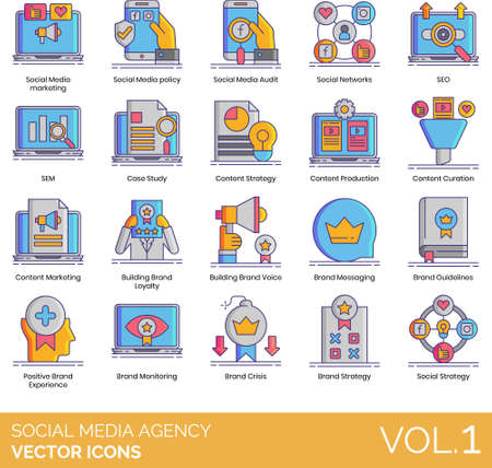 Icons of social media agency, content marketing, brand strategy