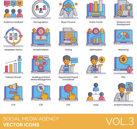 Icons of social media agency, strategy, analytics, research and development