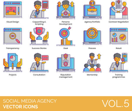 Icons of social media agency process and programs Illustration
