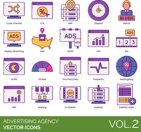 icons of advertising agency, data, marketing strategy, display advertising
