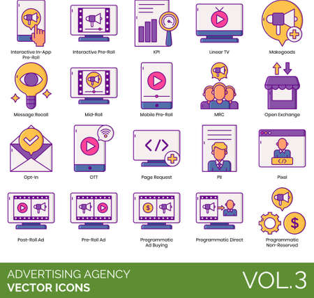 Vector icons of advertising agency, creative agency, programmatic ad buying, advertisement