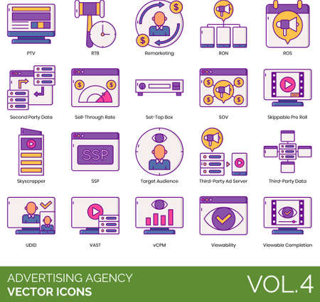 icons of advertising agency, remarketing, data, target audience Ilustración de vector