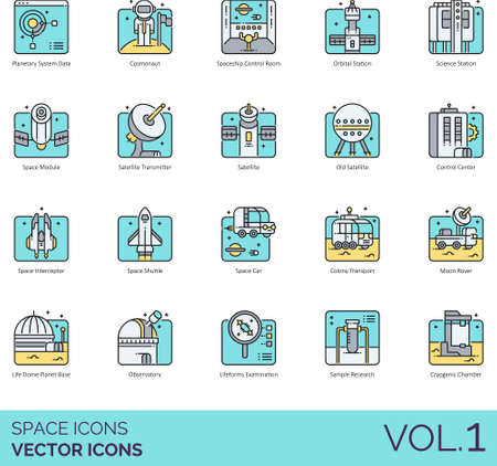 Icons of space and astronomy related, exploration, observation, science technology