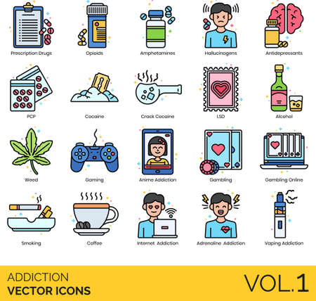 Icons of addiction types and classifications, drugs consumption, caffeine, alcohol, lifestyle Ilustración de vector