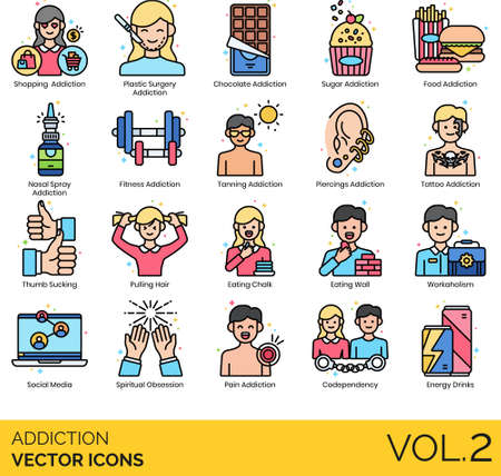 Icons of addiction types and classifications, lifestyle, emotional, psychology, consumption
