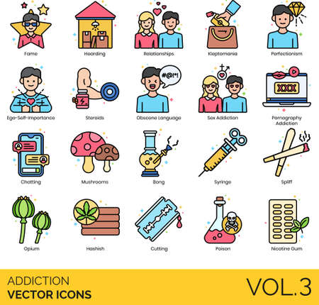 Icons of addiction types and classifications, psychology, lifestyle, drugs consumption Illustration