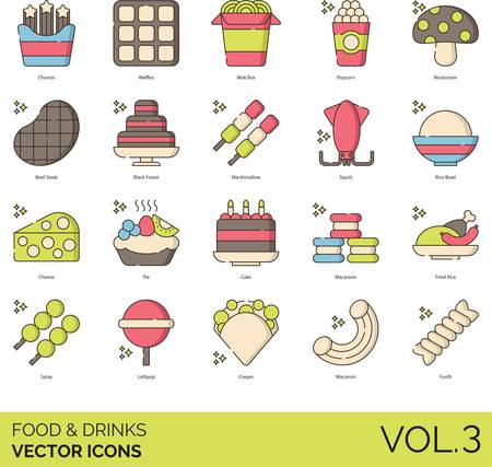 Vector icons of food and drinks, pastry, steak, asian food, pasta