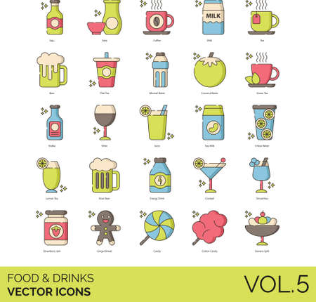 icons of food and drinks, alcohol, dairy, caffeine, healthy, candy, dessert