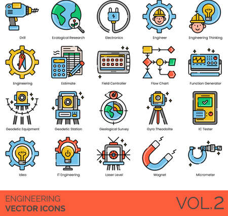 Vector icons of engineering, electronic devices, engineering thinking