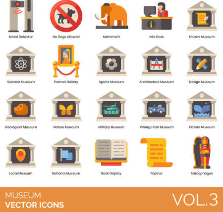 icons of museum types and categories, collections, rules, signage