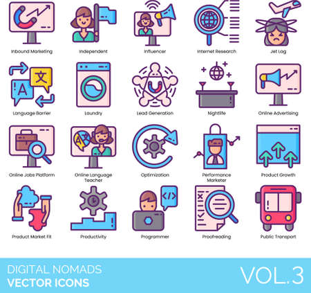 Icons of digital nomad lifestyle, online and remote working, profession