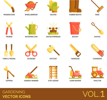 Icons of esential gardening tools, planting, weeding, pruning, cleaning.