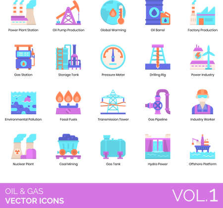 Flat icons of oil and gas production, power industry
