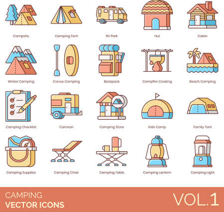 Line icons of camping and hiking, outdoor gear, summer travel activity