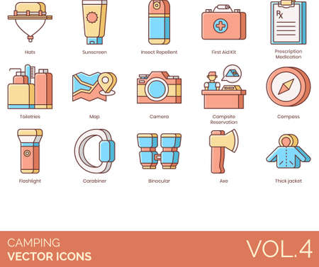 Line icons of camping and hiking, outdoor essentials, personal hygiene, medicine Vectores