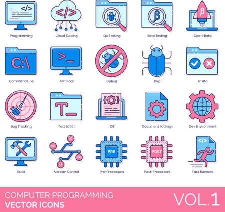 Line icons of computer programming, IT, testing, bug tracking Vectores