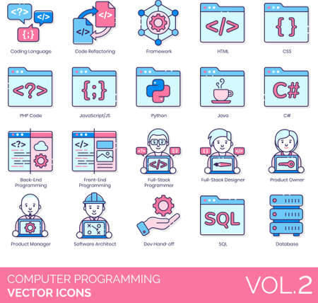 Line icons of computer programming, IT, coding language, developer Vectores