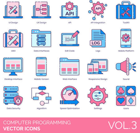 Line icons of computer programming, interface design, IT, algorithm Illustration
