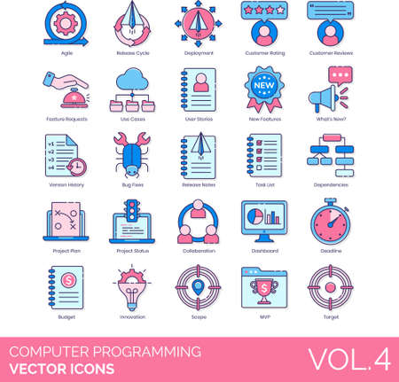 Line icons of computer programming, IT, release, agile, project