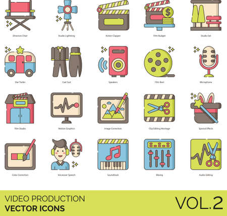 Line icons of video production and cinematography, equipment, cast, editing, post-production Illustration