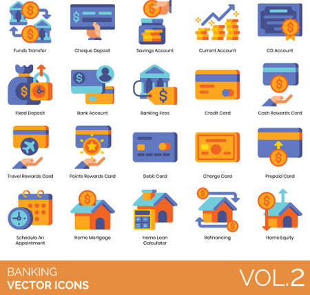 Flat icons of banking and finance, bank account, card