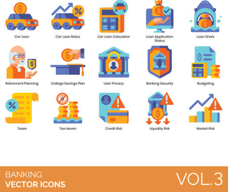 Flat icons of banking and finance, loan, savings